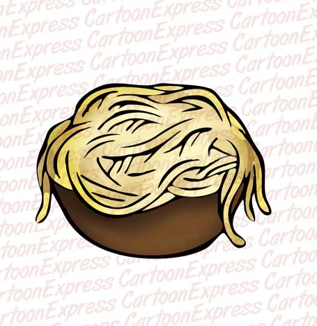 cartoon vector illustration of bowl of noodles
