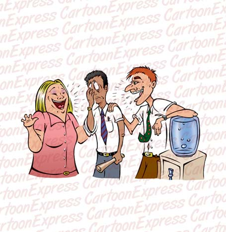 Vector cartoon illustration of employees gossiping at a watercooler